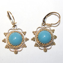 Estate 14k Gold Earrings With Turquoise