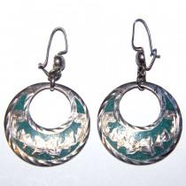 Estate Sterling Silver Enamel Earrings
