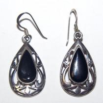 Estate Sterling Silver Onyx Earrings