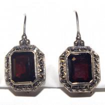 Estate 925 Silver Garnet Earrings
