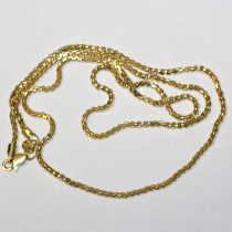 Hollow Round Box 14k Gold Chain Necklace