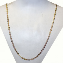 Pavé Valentino Tri-color Style 14k Gold Chain Necklace