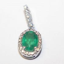 Estate 14k gold emerald & diamond pendant
