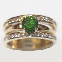 Demantoid and Diamond Wedding Ring