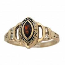 Estate Garnet 14k Gold School Ring