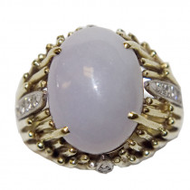 Estate 14k Gold Jade and Diamonds Ring