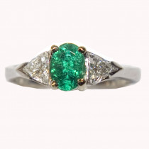 Estate 14k Gold Emerald and Diamonds Ring