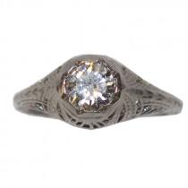 Estate 14k Gold Filigree Diamond Ring