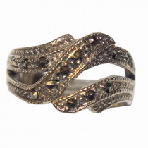 Estate 925 Silver Marcasite Ring -2
