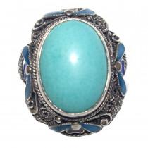 Estate Turquoise 925 Silver Enamel Ring