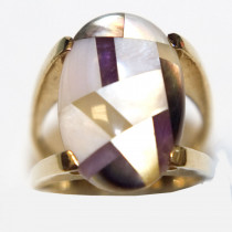 Mother-of-Pearl 14K Gold Inlay Ring