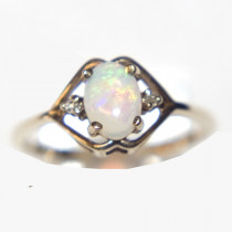 Estate 10k Gold Opal and Diamond Small Ring