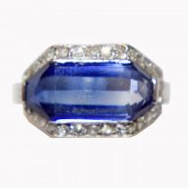 Estate Platinum Sapphire & Diamond Ring