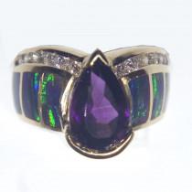 14K Gold Amethyse, Opal and Diamond Ring